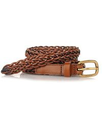 Gucci Braided Leather Belt brown - Lyst