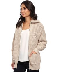 Lacoste Long Sleeve Chunky Wool Sweater Jacket - Lyst