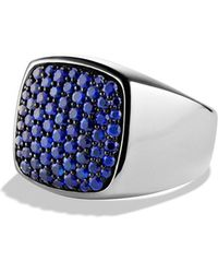 David Yurman Pavé Signet Ring with Sapphires - Lyst