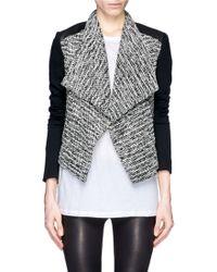 Alice + Olivia Burma Leather Panel Tweed Jacket - Lyst