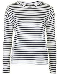 Topshop Petite Long Sleeve Striped Top - Lyst