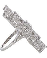 Stone Diamond White Gold Gatsby Ring - Lyst