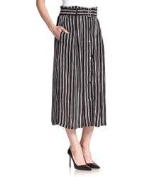 A.L.C. Mcdermott Striped Silk Midi Skirt - Lyst