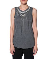 Haute Hippie Ebellished Muscle Top - Lyst