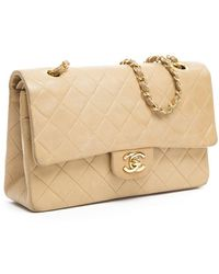 Chanel Preowned Beige Lambskin Medium Double Flap Bag - Lyst