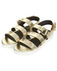 Topshop Gold Humidity Sandals - Lyst