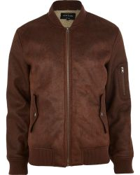 River Island Brown Shearling Bomber Jacket - Lyst