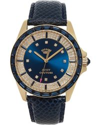 Juicy Couture Womens Stella Navy Embossed Leather Strap Watch 40mm - Lyst