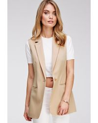 Love 21 Notched-Collar Longline Vest - Lyst
