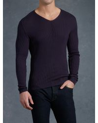 John Varvatos Ribbed Vneck Sweater - Lyst