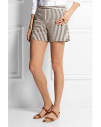 Tory Burch Marit Striped Cotton-blend Shorts - Lyst