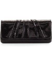 2d7fd6f8022f Lauren Merkin - Caroline Shiny Croc-embossed Clutch Bag - Lyst