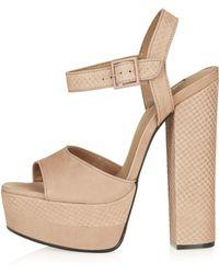 Topshop Womens Lopez Platform Sandals  Nude - Lyst