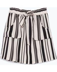 Zara Striped Skirt Patch Pockets - Lyst