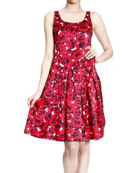 Moschino Dresses Sleeveless Print Rose with Pieghe - Lyst