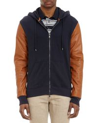 Michael Kors Leather Sleeve Hoody - Lyst