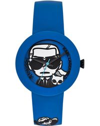 Karl Lagerfeld Black Blue Karl Print Watch - Lyst