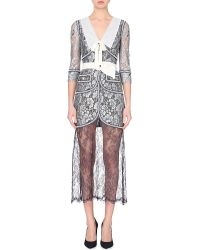 Alessandra Rich Contrast-Trimmed Semi-Sheer Lace Dress - For Women transparent - Lyst