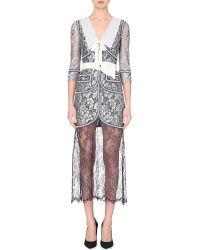 Alessandra Rich Contrast-Trimmed Semi-Sheer Lace Dress - For Women - Lyst