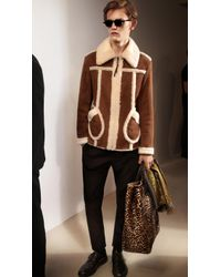 Burberry Cropped Shearling Jacket - Lyst