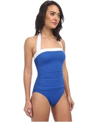Lauren by Ralph Lauren Bel Aire Shirred Bandeau Mio Slimming Fit One-Piece - Lyst