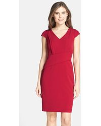 Adrianna Papell Asymmetric Waist Stretch Crepe Sheath Dress - Lyst