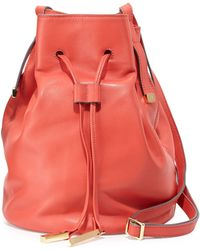 Halston Heritage Leather Bucket Bag - Lyst