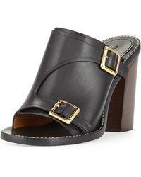 Chloé Buckled Stacked-Heel Slide Sandal - Lyst