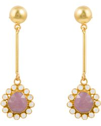 Kastur Jewels - Art Deco Flower Sapphire & Crystal Earrings - Lyst