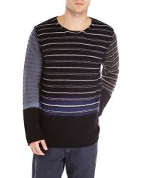 Comme des Garçons Black Contrast Stripe Knit Sweater - Lyst