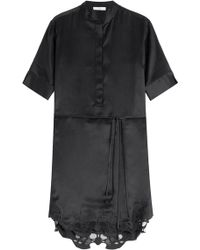 IRO Silk Dress With Embroidered Lace Hem - Lyst