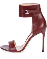 Gianvito Rossi Leather Ankle-Wrap Sandal - Lyst