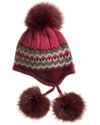 Inverni Striped Knit Beanie With Fur Pompoms - Lyst