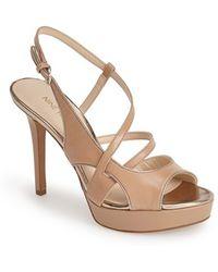 Nine West 'So True' Leather Platform Sandal beige - Lyst