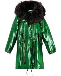 Preen Fur-trim Lightweight Metallic Parka - Lyst