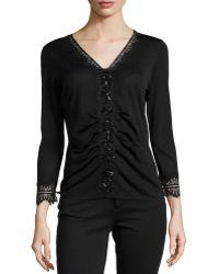 Carolina Herrera Beaded V-neck Sweater W Lace-trim - Lyst