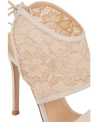 Gianvito Rossi Beige Lace-Inset Sandals - Lyst