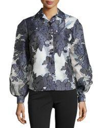 Carolina Herrera Floral-Jacquard Buttoned-Front Shirt - Lyst