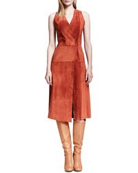 Proenza Schouler Sleeveless Suede Crossover Dress - Lyst