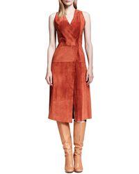 Proenza Schouler Sleeveless Suede Crossover Dress - Lyst