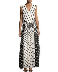 Halston Heritage Striped A-Line Gown - Lyst