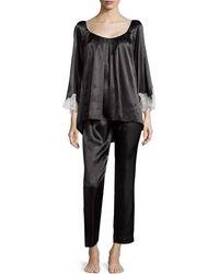 Oscar de la Renta Lace Luster 3/4-Sleeve Pajama Set - Lyst