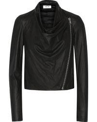 Helmut Lang Draped Leather Biker Jacket - Lyst