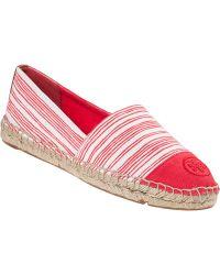 Tory Burch Stripe Flat Espadrille Red Fabric - Lyst