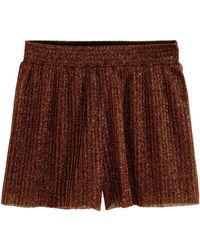 H&M Pleated Shorts brown - Lyst