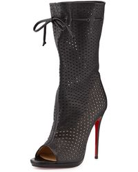 Christian Louboutin Jennifer Perforated Red Sole Boot - Lyst