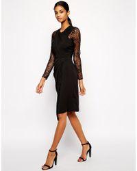 Asos Lace Insert Drape Midi Dress - Lyst