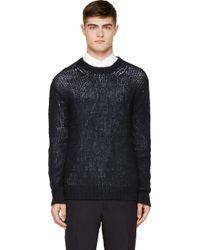 Junya Watanabe Navy Mohair Knit Sweater - Lyst