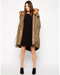 Asos Parka with Detachable Faux Fur Lining Hood - Lyst