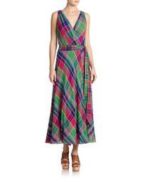 Polo Ralph Lauren Plaid Wrap Maxi Dress - Lyst
